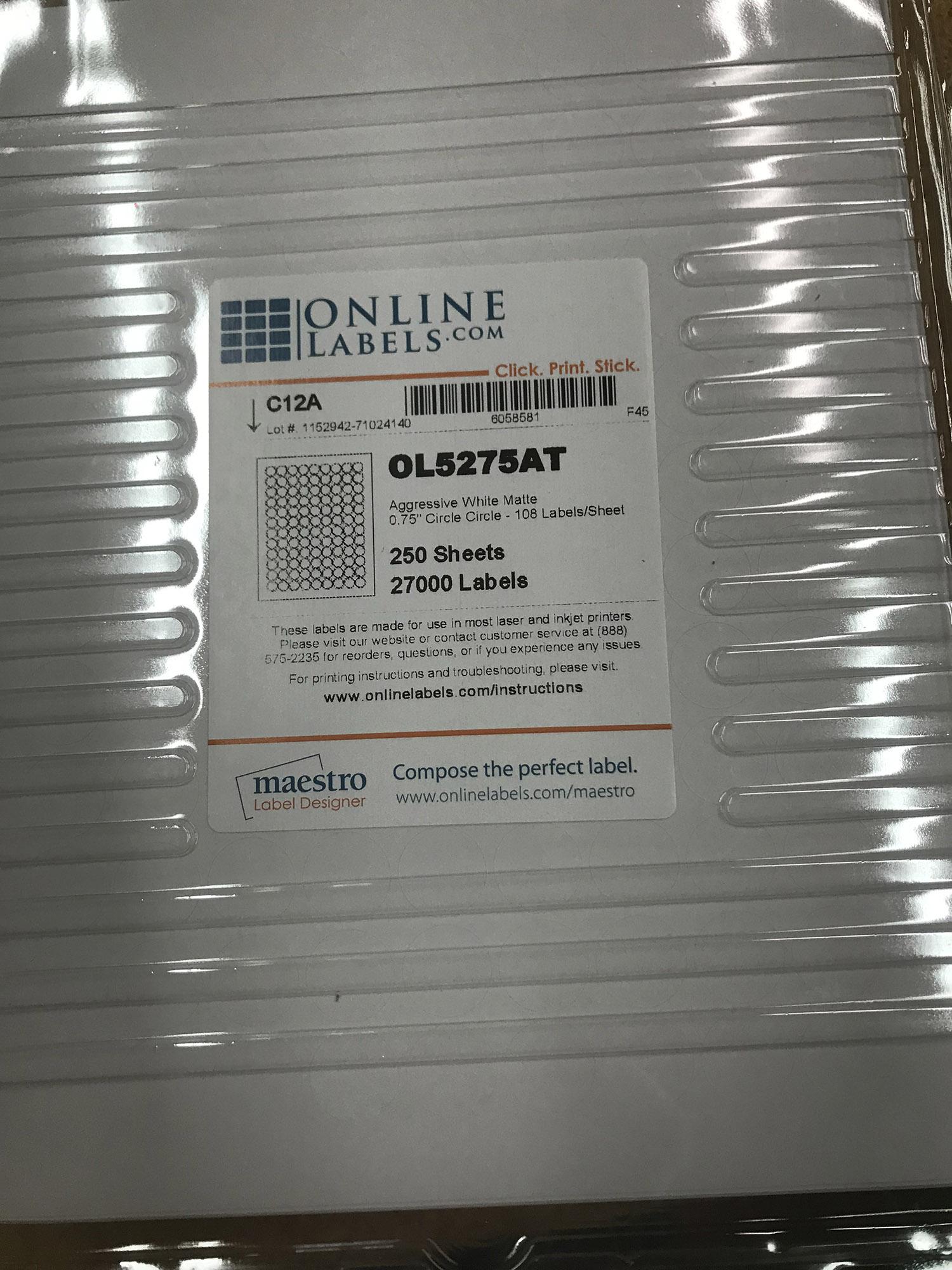 250 Sheet Pack White Circle Labels