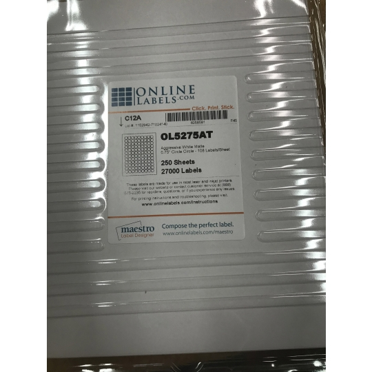250 Sheet Pack White Circle Labels