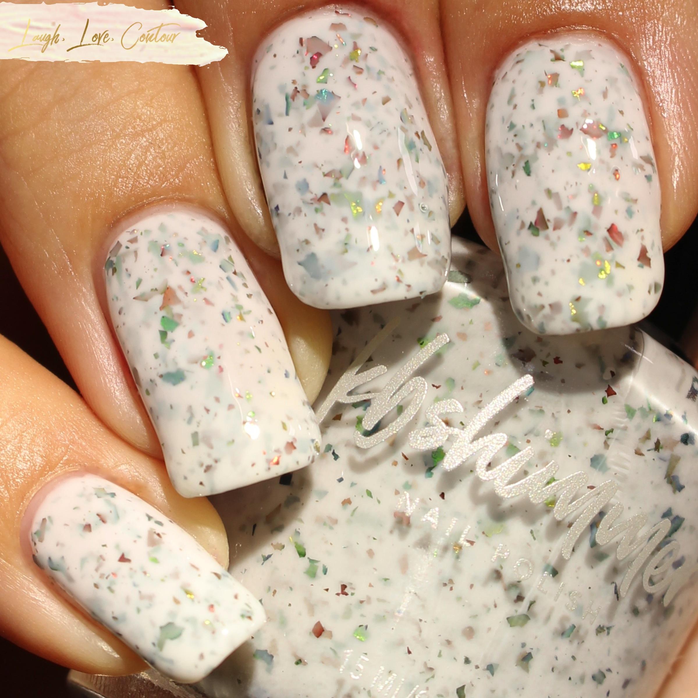 I\'ll Be Chrome For Christmas Nail Polish White Crelly Glitter Nail ...