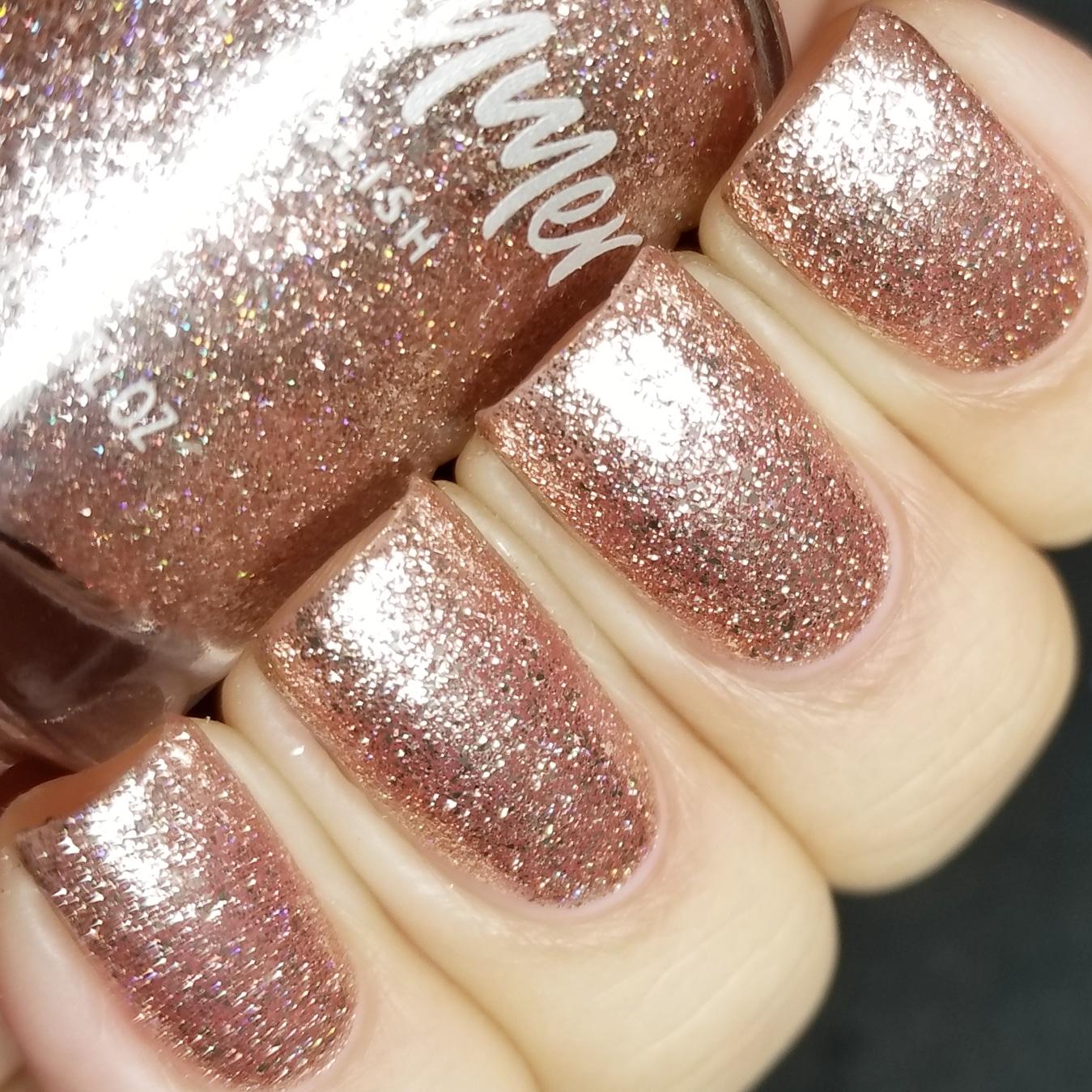 polished sand color kbshimmer one night sand metallic flake nail polish