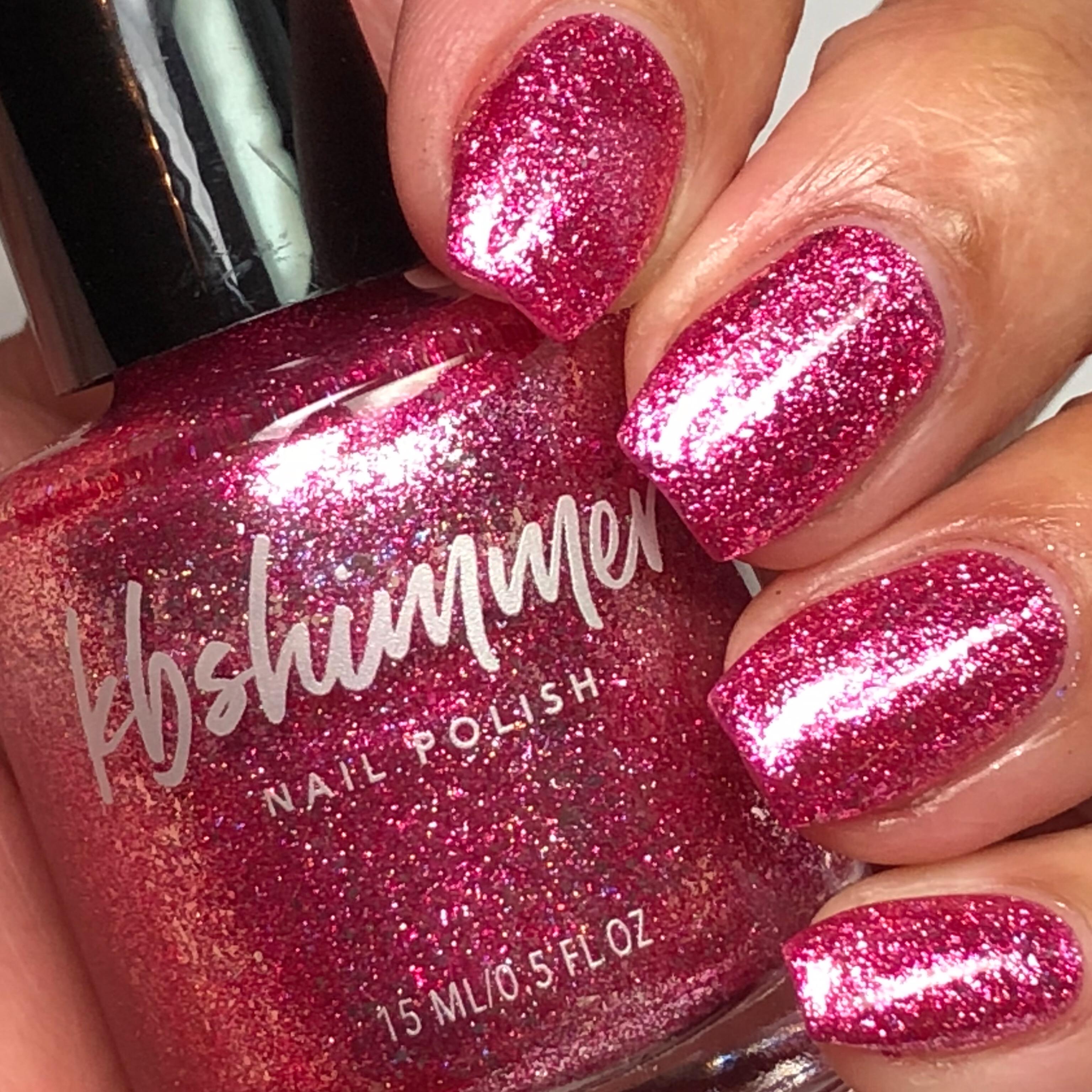 KBShimmer Pink Tourmaline Birthstone Metallic Flake Nail Polish