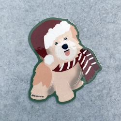 Peach Puppy Holiday Sticker 2020